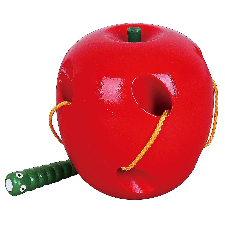 дървена играчка за нанизване - Ябълка- образователни играчки-bellamie