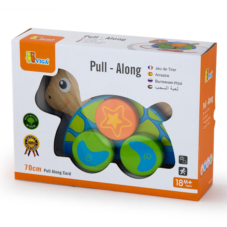 Детска дървена играчка за дърпане Костенурка от Viga toys- бебешки играчки(1)-bellamiestore