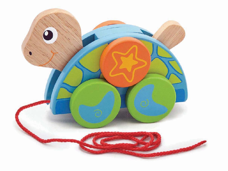 Детска дървена играчка за дърпане Костенурка от Viga toys- бебешки играчки-bellamiestore