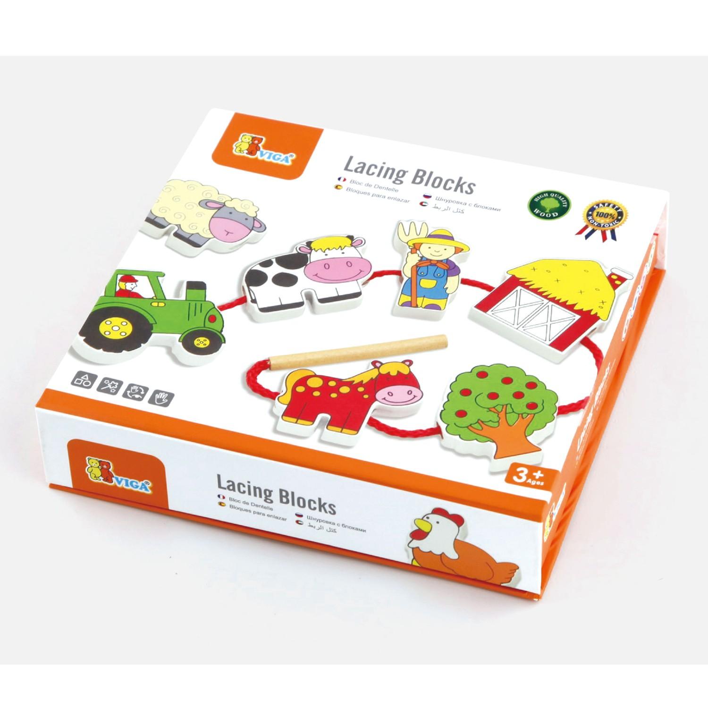 Дървена играчка за нанизване - Ферма - образователни играчки(2)-bellamie