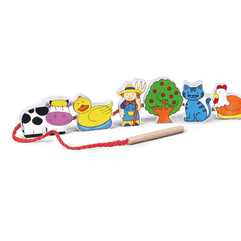 Дървена играчка за нанизване - Ферма - образователни играчки(3)-bellamie