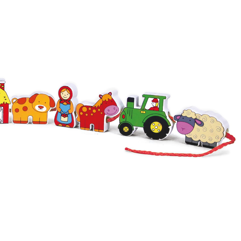 Дървена играчка за нанизване - Ферма - образователни играчки(4)-bellamie