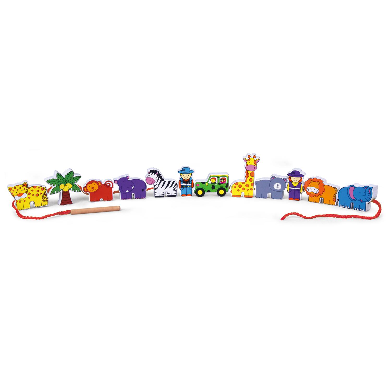 Дървенa играчка за нанизване - Зоопарк - образователни играчки-bellamie