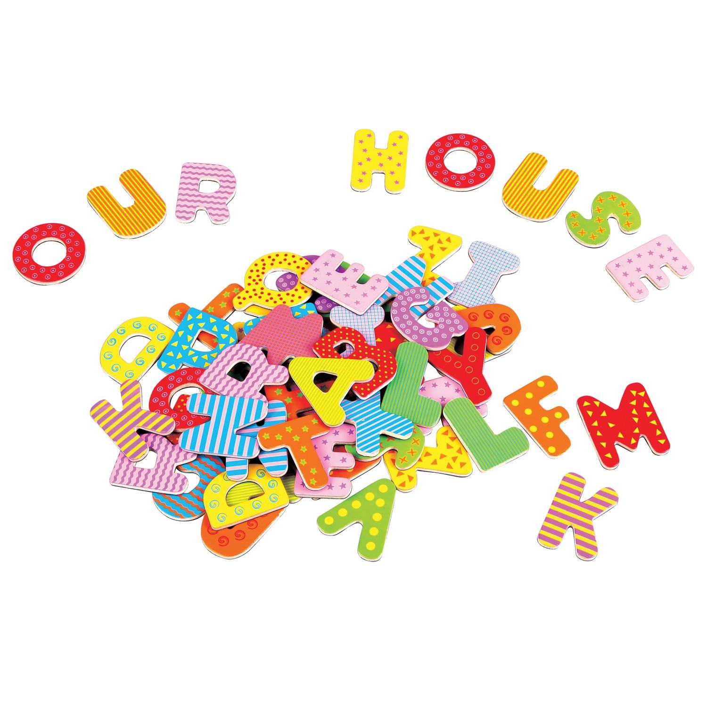 дървена магнитна азбука на английски език-образователни играчки-bellamie