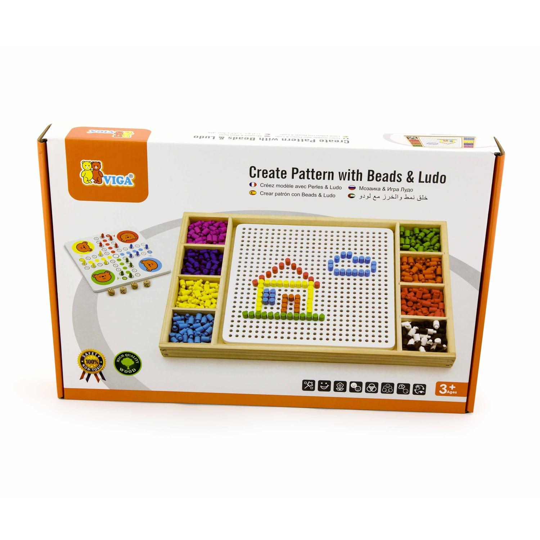 Дървена мозайка с топчета и настолна състезателна игра- Не се сърди човече от Viga toys-bellamiestore