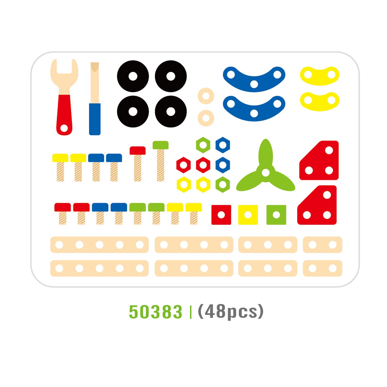Дървен конструктор с гайки и болтове - 48 части - играчка за момчета(7)-bellamie
