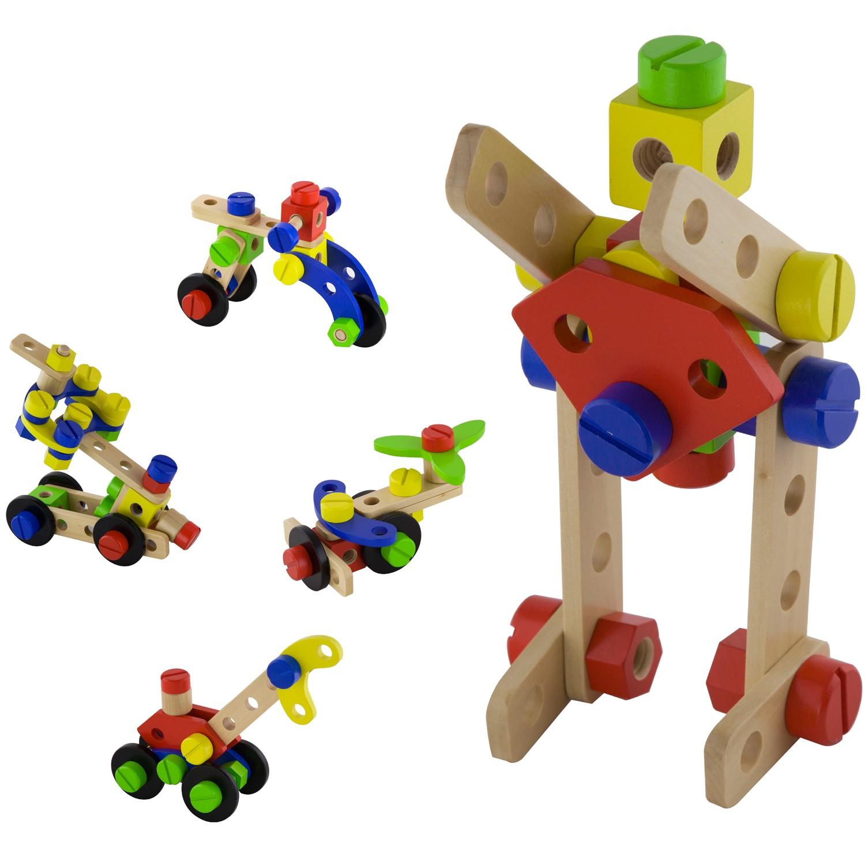 Дървен конструктор с гайки и болтове - 48 части - играчка за момчета(6)-bellamie