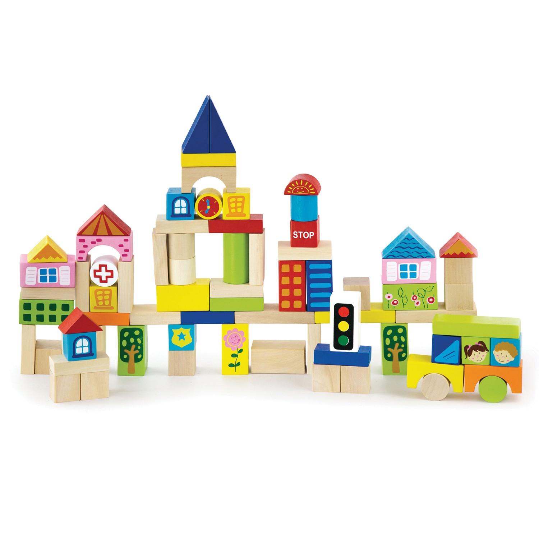 дървени конструктори от 75 части-Градът-дървена играчка-bellamie