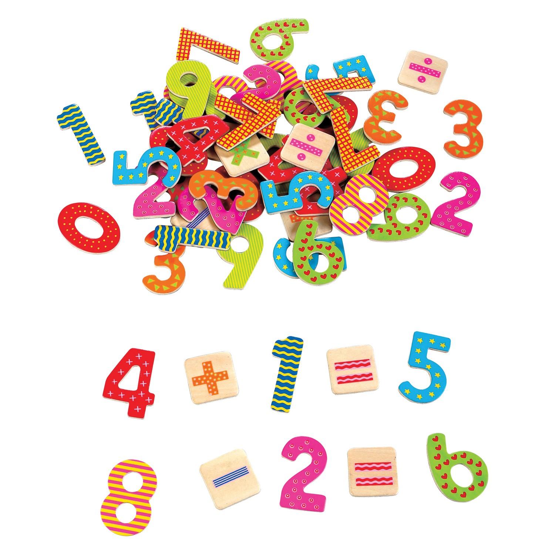 дървени магнитни цифри и знаци-60-броя-образователни играчки-bellamie