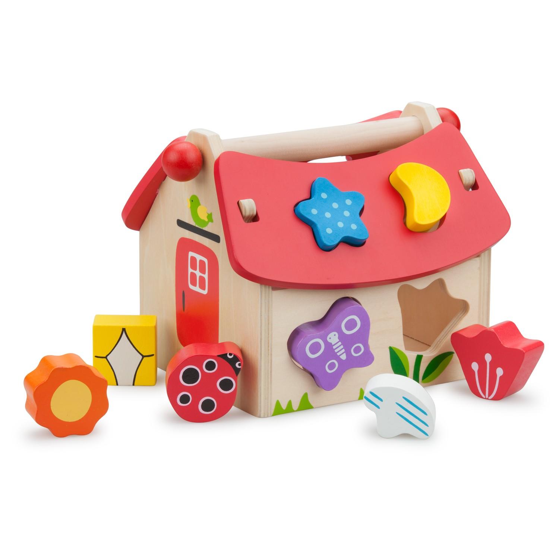 къща за сортиране на форми-дървени кубчета и сортери-дървени играчки-bellamie