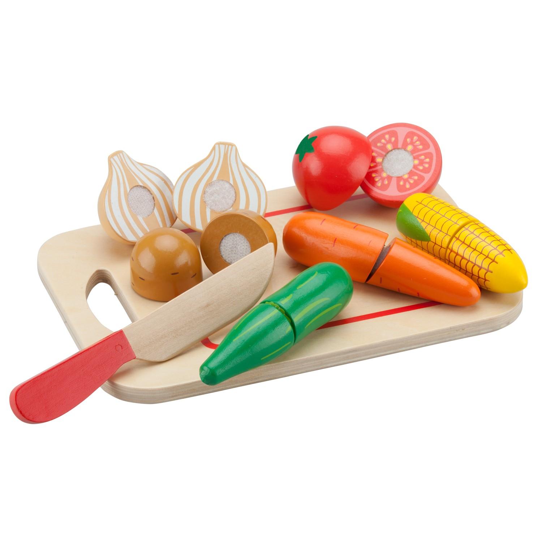 Зеленчуци с дъска за рязане-аксесоар за детска дървена кухня-дървени играчки-bellamie