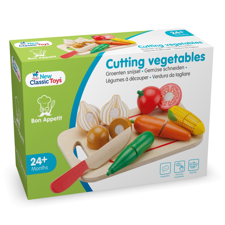 Зеленчуци с дъска за рязане-аксесоар за детска дървена кухня-дървени играчки(3)-bellamie