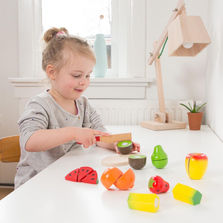 Дървени играчки - Кошница с плодове за рязане- аксесоар за детска дървена кухня-(1)-Bellamie