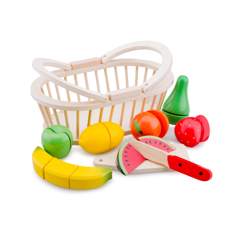 Дървени играчки - Кошница с плодове за рязане- аксесоар за детска дървена кухня-Bellamie