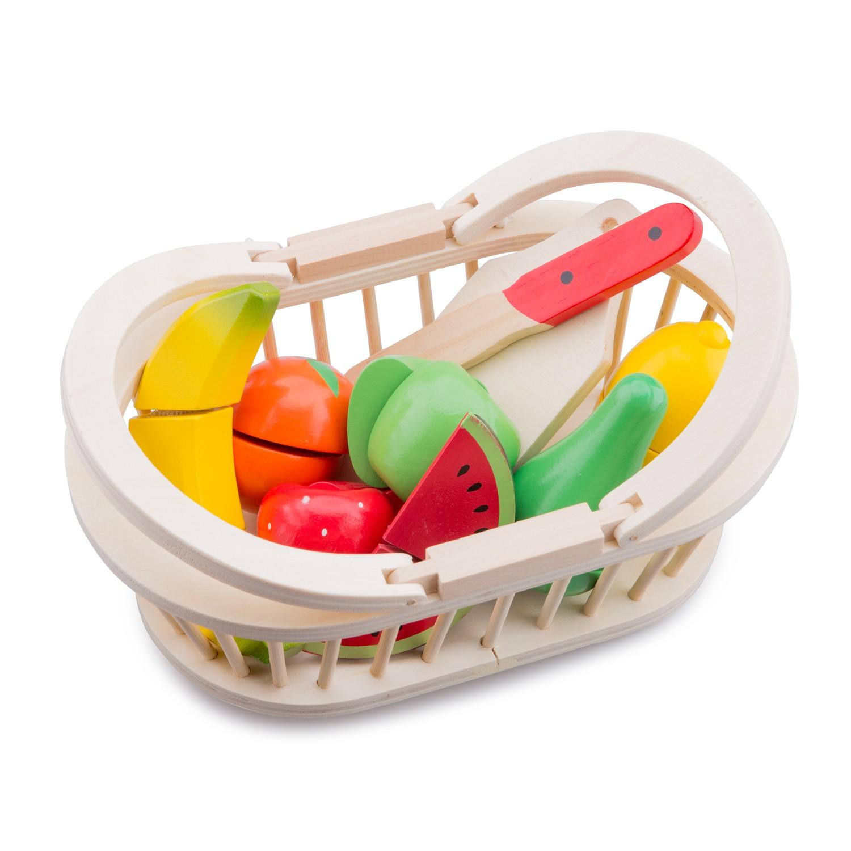 Дървени играчки - Кошница с плодове за рязане- аксесоар за детска дървена кухня-(4)-Bellamie