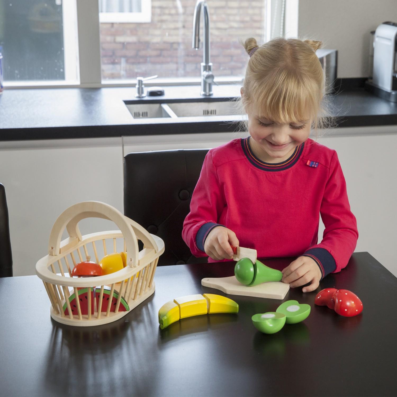 Дървени играчки - Кошница с плодове за рязане- аксесоар за детска дървена кухня-(2)- Bellamie