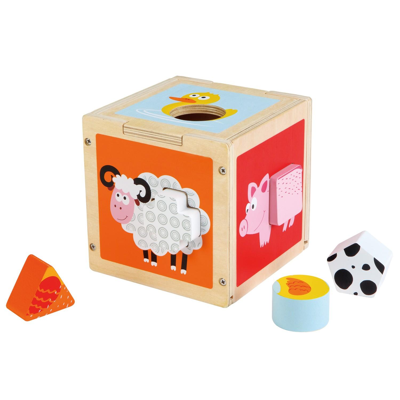 куб за сортиране на форми-дървени кубчета и сортери-дървена играчка-bellamie
