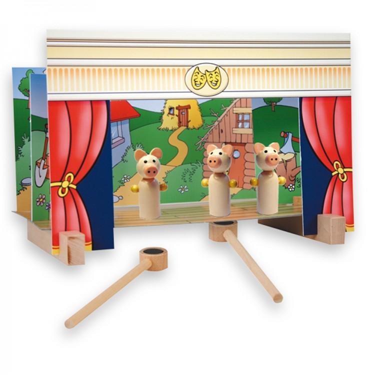 Дървен магнитен театър-образователни играчки-ролеви игри-bellamie