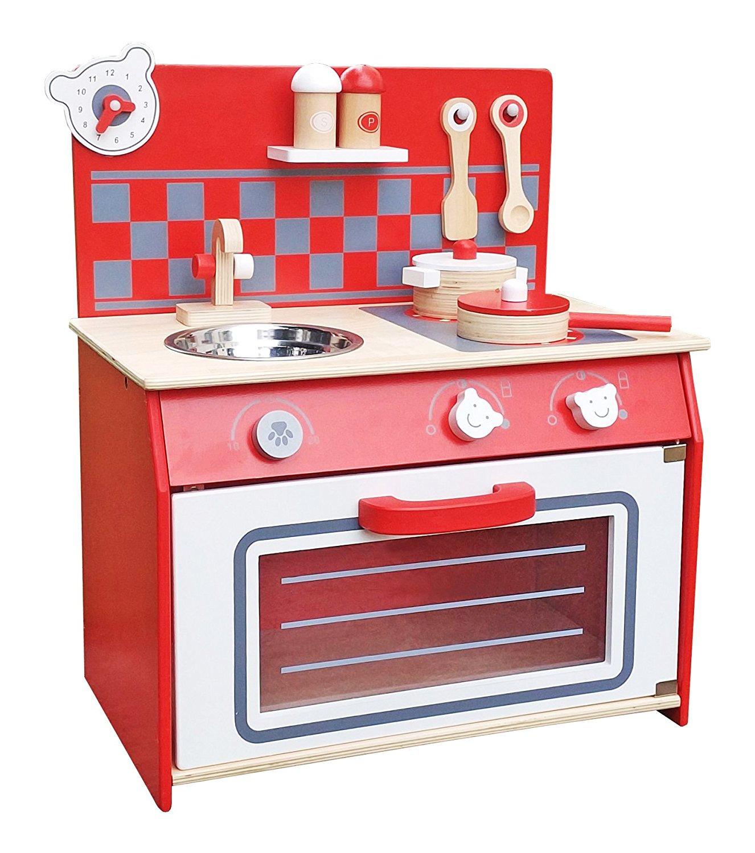 малка червена детска дървена кухня-дървена играчка-bellamie