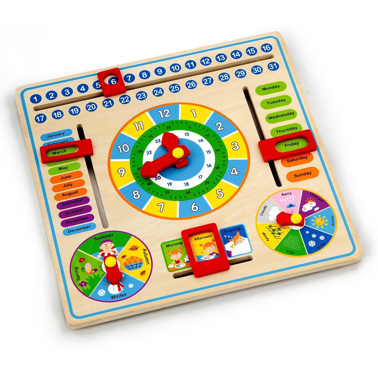 мултифункционален календар и часовник-дървени образователни играчки-bellamie