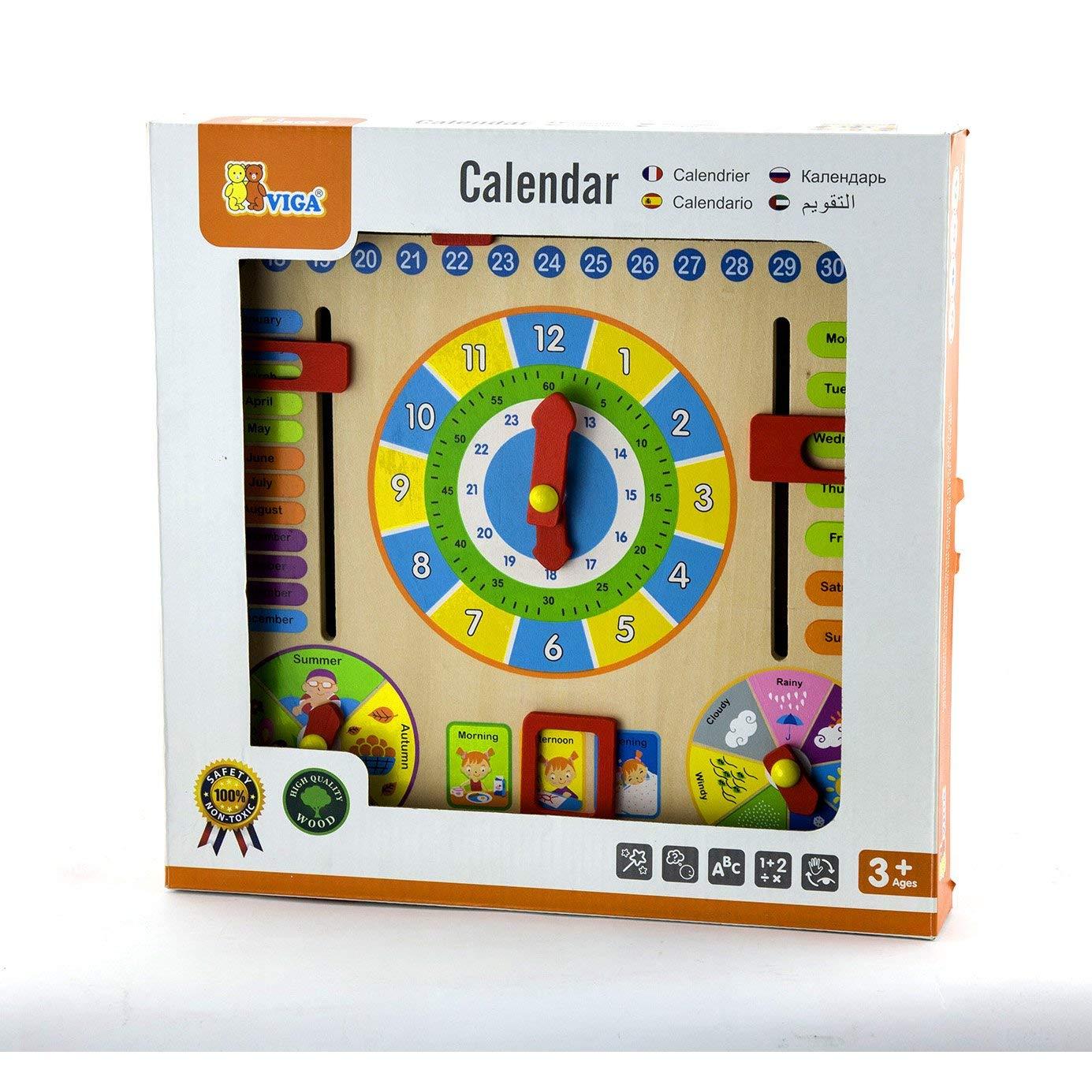 мултифункционален календар и часовник-дървени образователни играчки(1)-bellamie