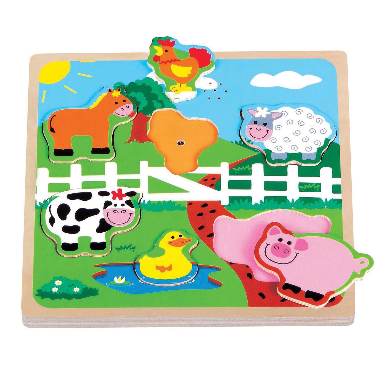 музикален детски пъзел Фермата-дървени играчки-bellamie