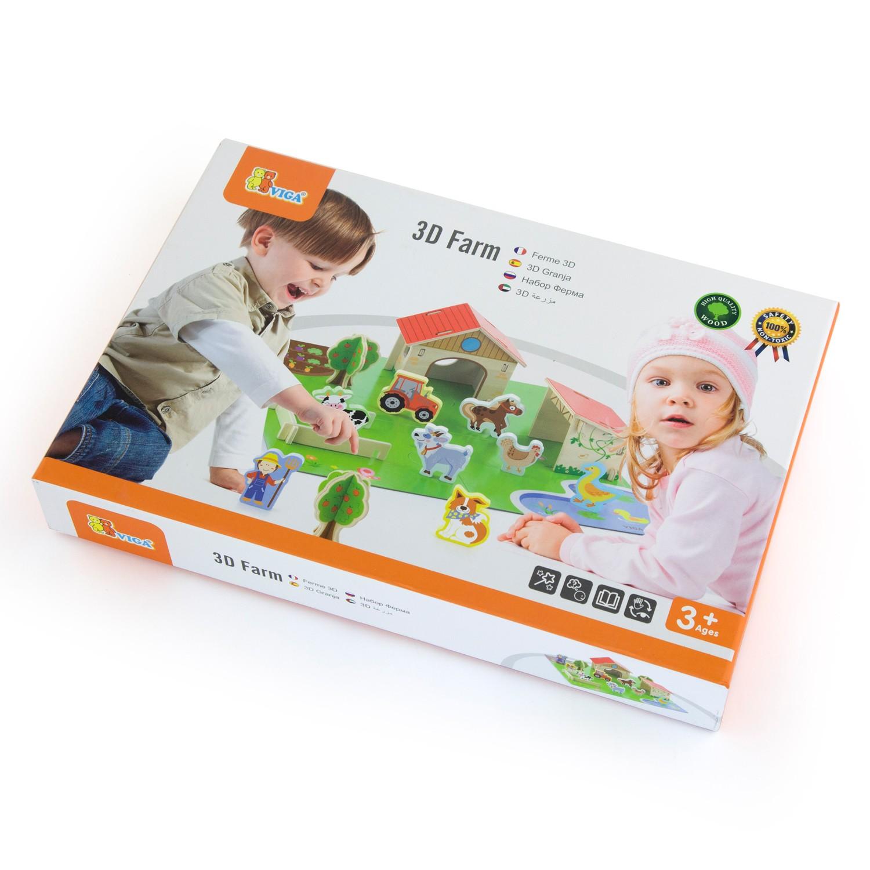 Образователна игра и детски пъзел 3D-Фермата-Viga toys-Bellamie