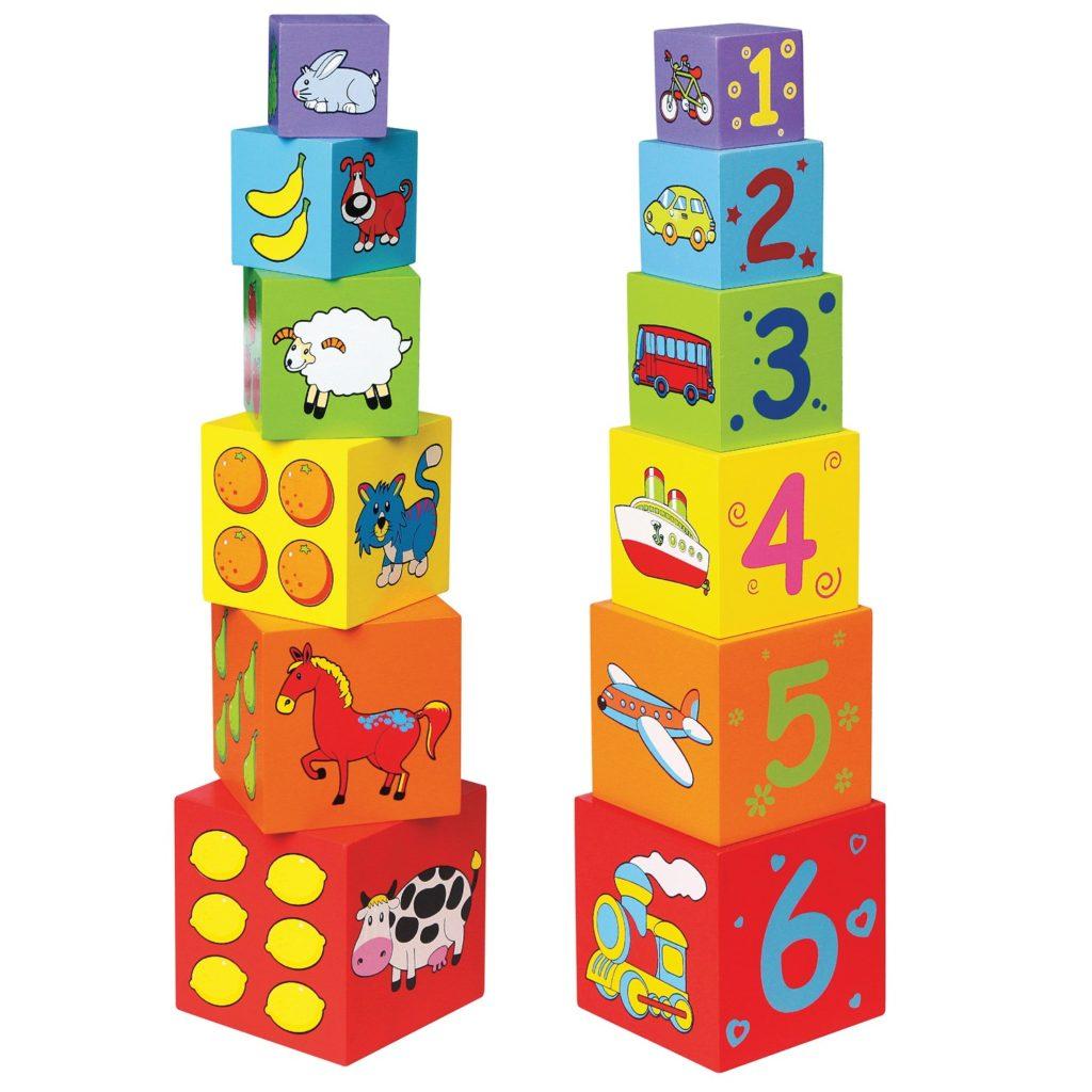 Цветни дървени кубчета -дървени играчки-Беллами