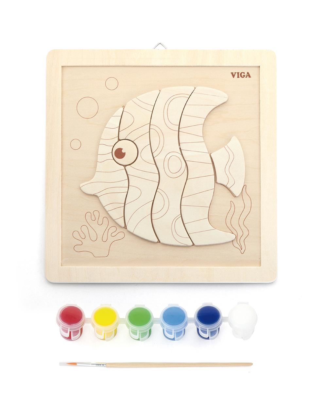 Творчески комплект - дървена дъска за рисуване Рибка от Vigatoys-bellamiestore