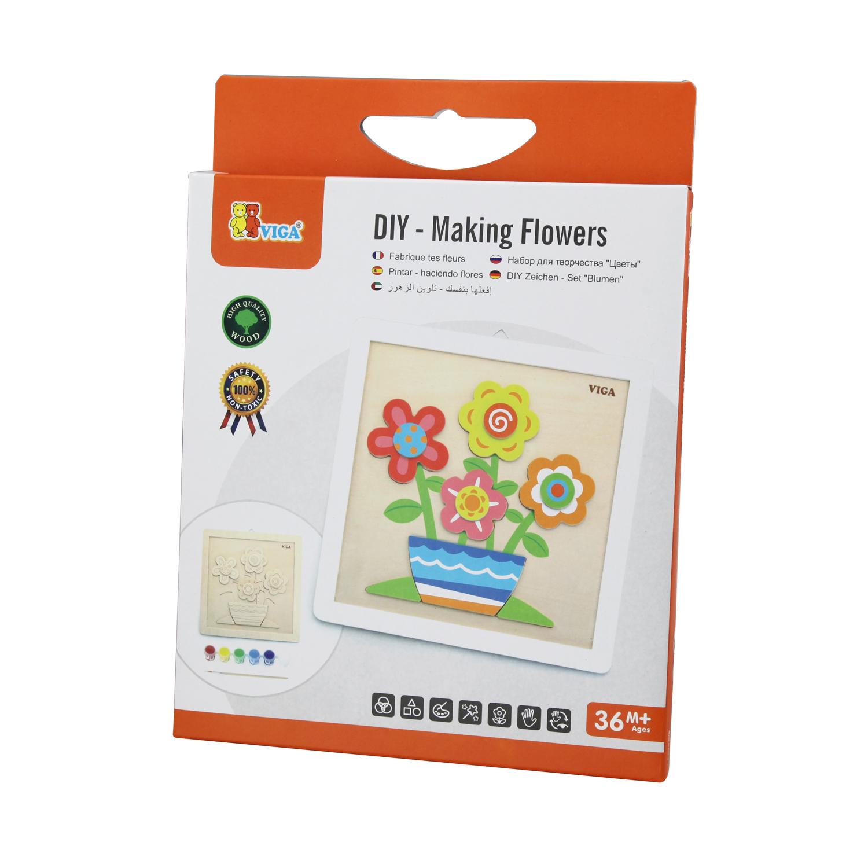 Творчески комплект за рисуване с бои Цветя от Viga toys-bellamiestore