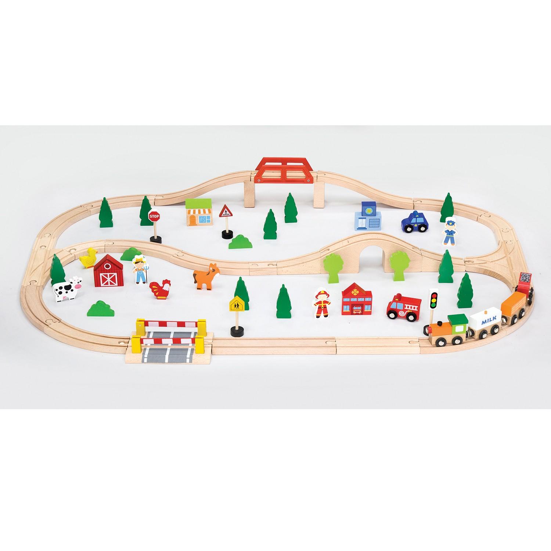 Детски дървен влак-90 части-Viga(2)-Bellamie