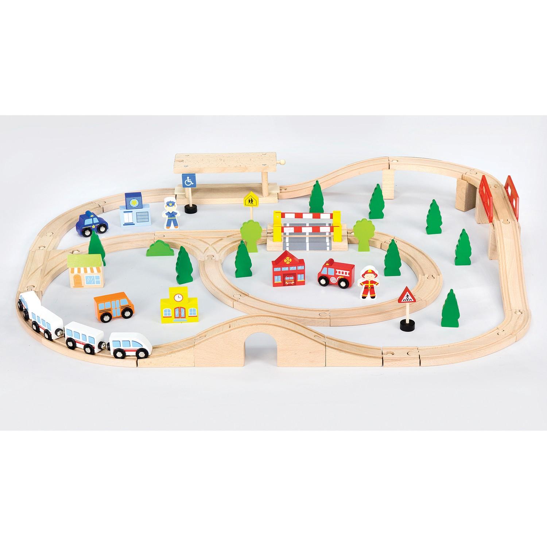 Детски дървен влак-90 части-Viga-Bellamie