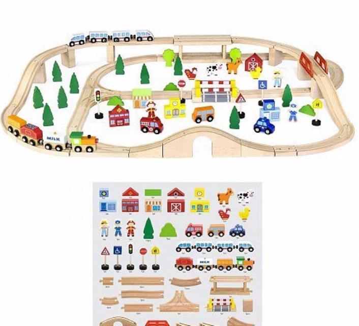 Детски дървен влак-90 части-Viga(3)-Bellamie