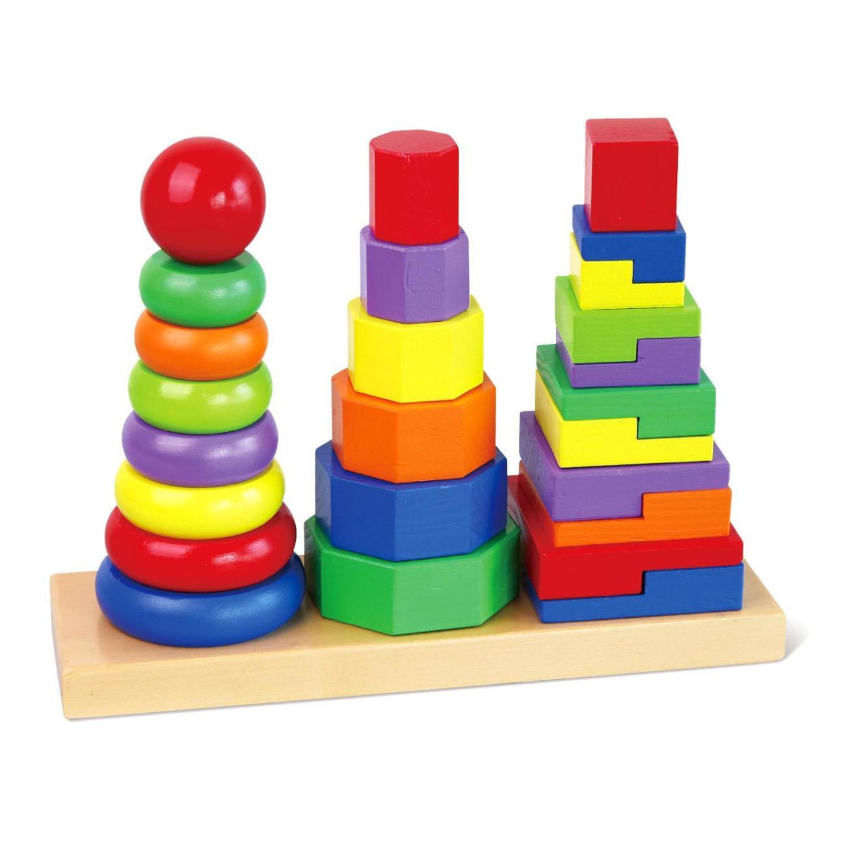 Дървена играчка за сортиране на геометрични фигури - дървени кубчета и сортери-bellamie