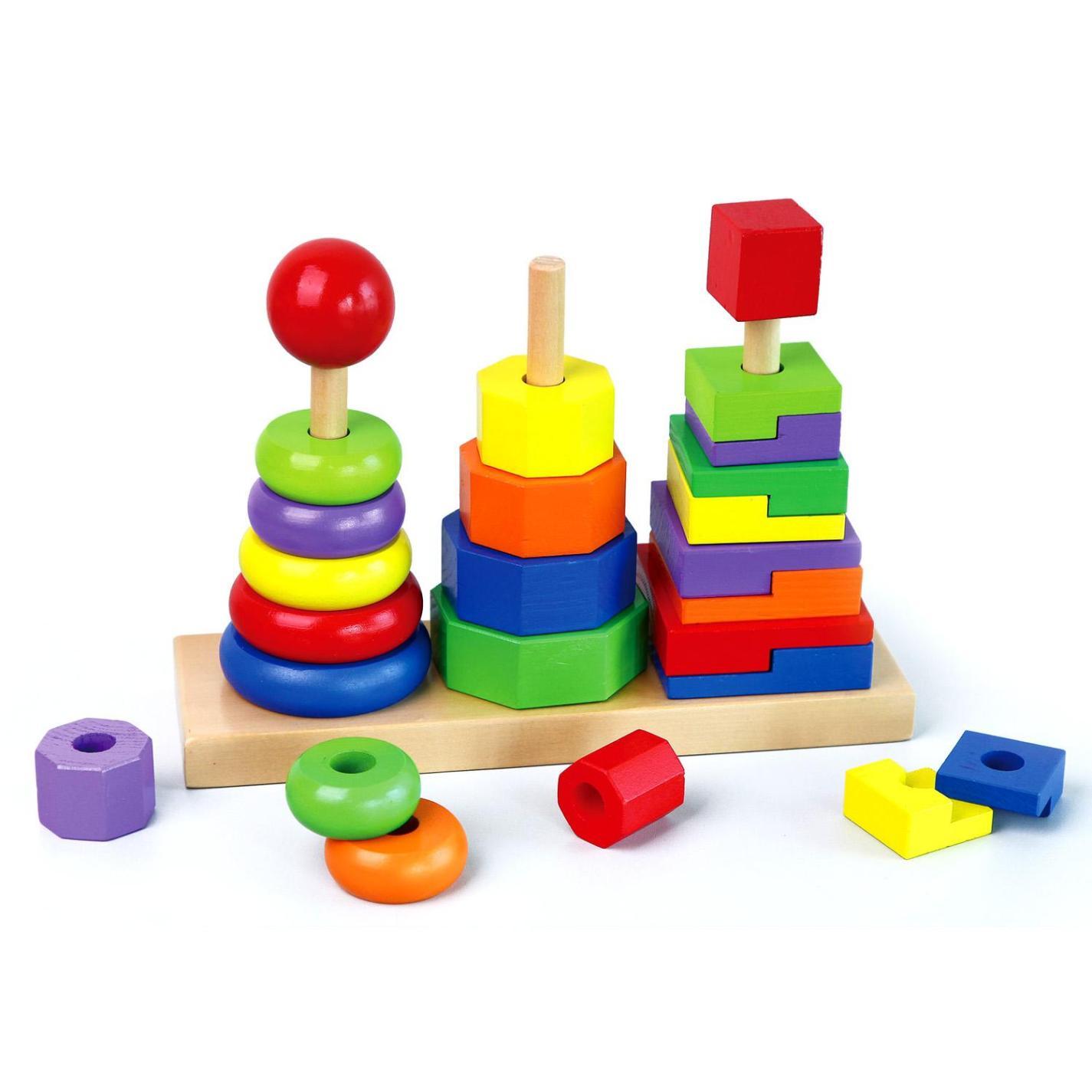 Дървена играчка от геометрични фигури и дървени кубчета(1)-bellamie