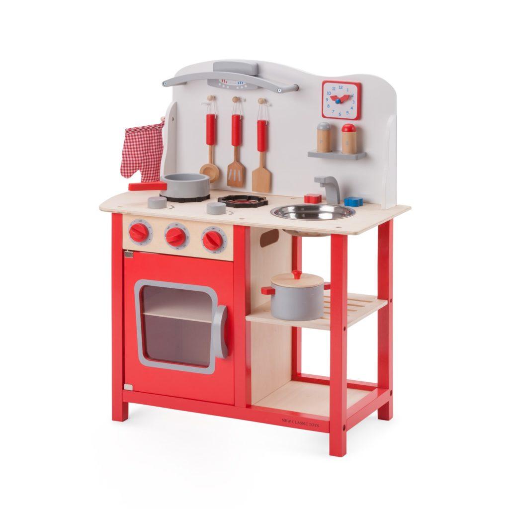"""Детска дървен кухня """"Бон Апети"""" в червено-дървена играчка (1)-bellamie"""
