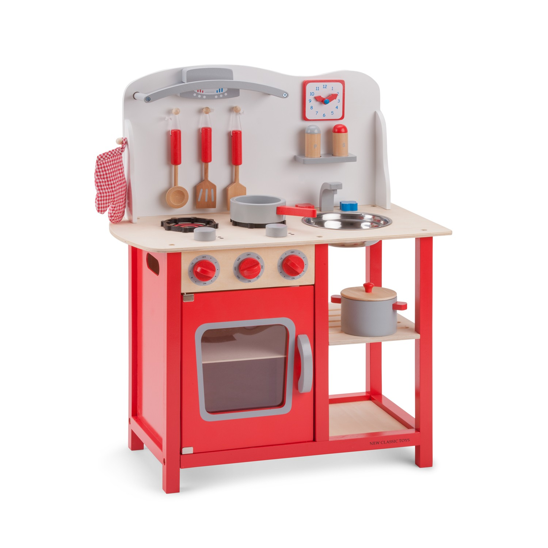 """Детска дървен кухня """"Бон Апети"""" в червено-дървена играчка -Bellamie"""