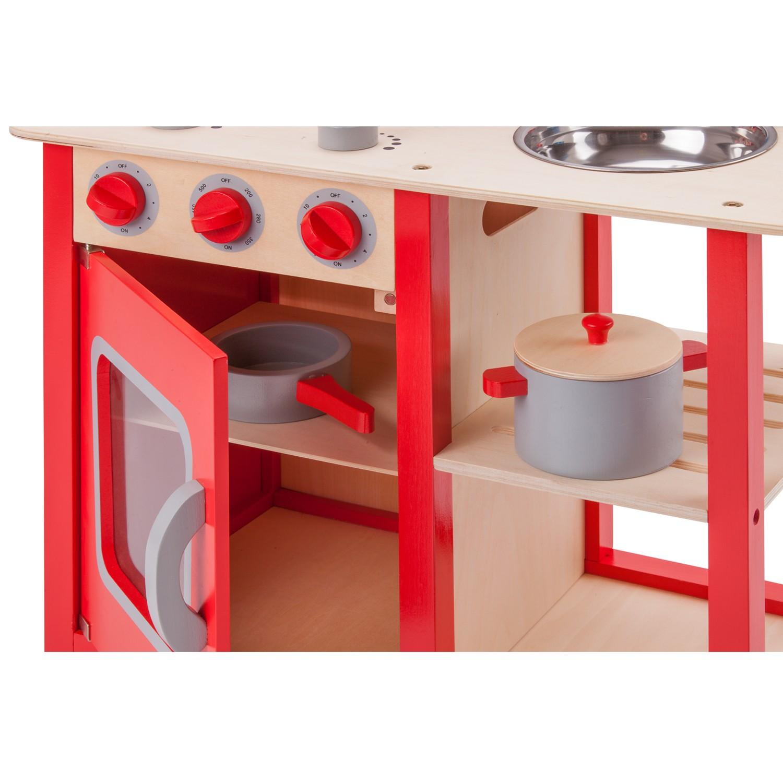 """Детска дървен кухня """"Бон Апети"""" в червено-дървена играчка (3)-bellamie"""