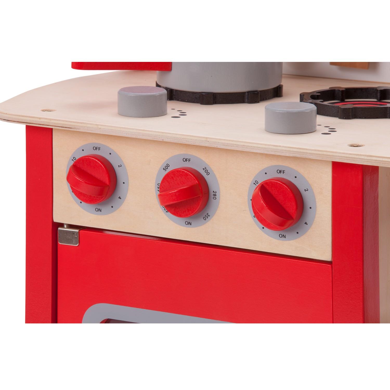 """Детска дървен кухня """"Бон Апети"""" в червено-дървена играчка (4)-bellamie"""
