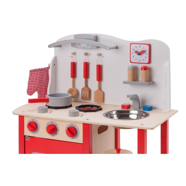 """Детска дървен кухня """"Бон Апети"""" в червено-дървена играчка (2)-bellamie"""