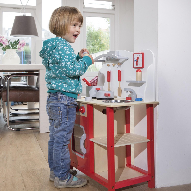 """Детска дървен кухня """"Бон Апети"""" в червено-дървена играчка (5)-bellamie"""