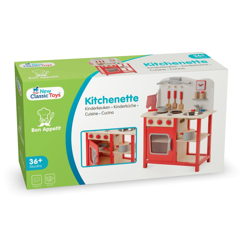 """Детска дървен кухня """"Бон Апети"""" в червено-дървена играчка (6)-bellamie"""