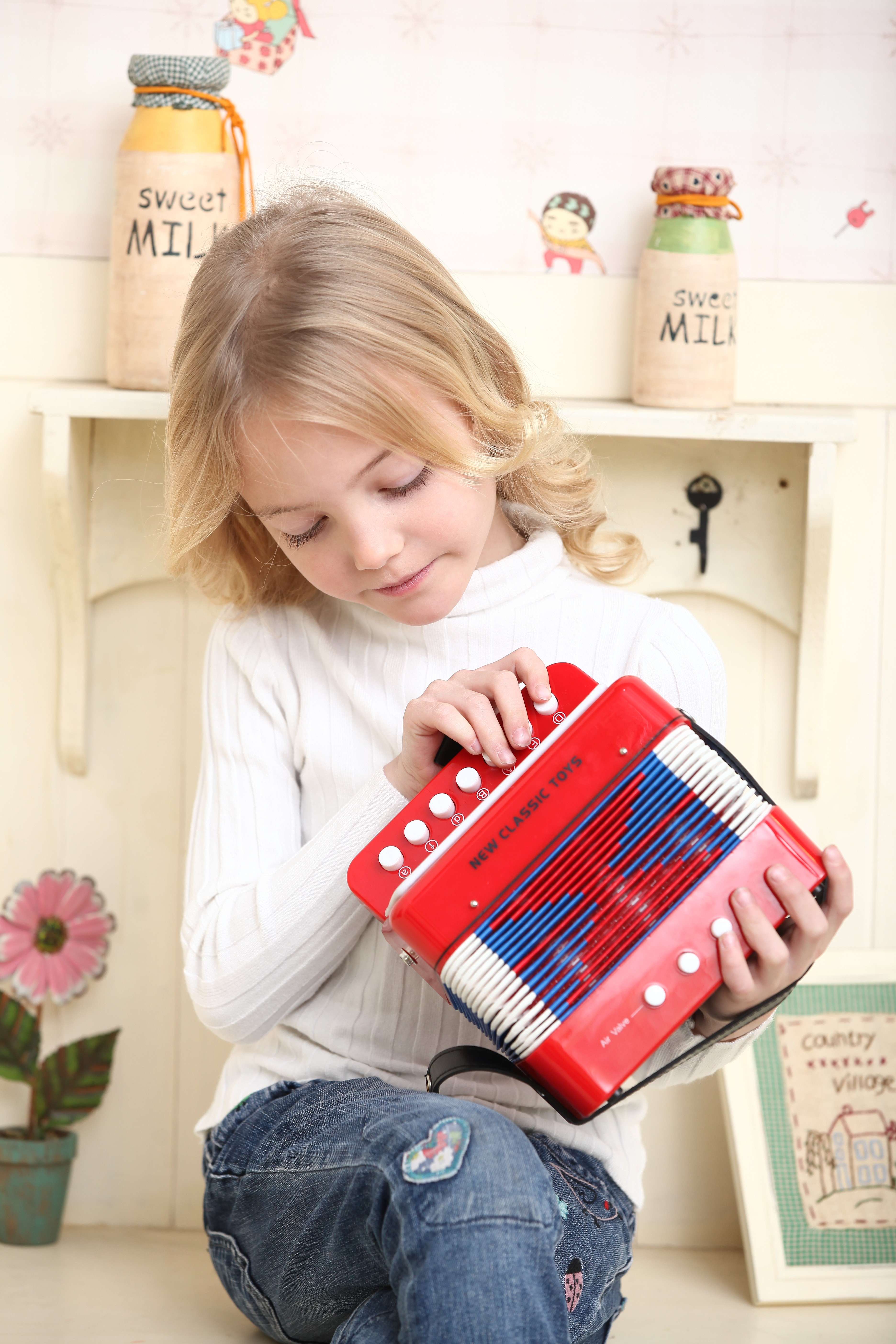 Детски музикални инструменти - червен акордеон -New classic toys(3)-bellamiestore