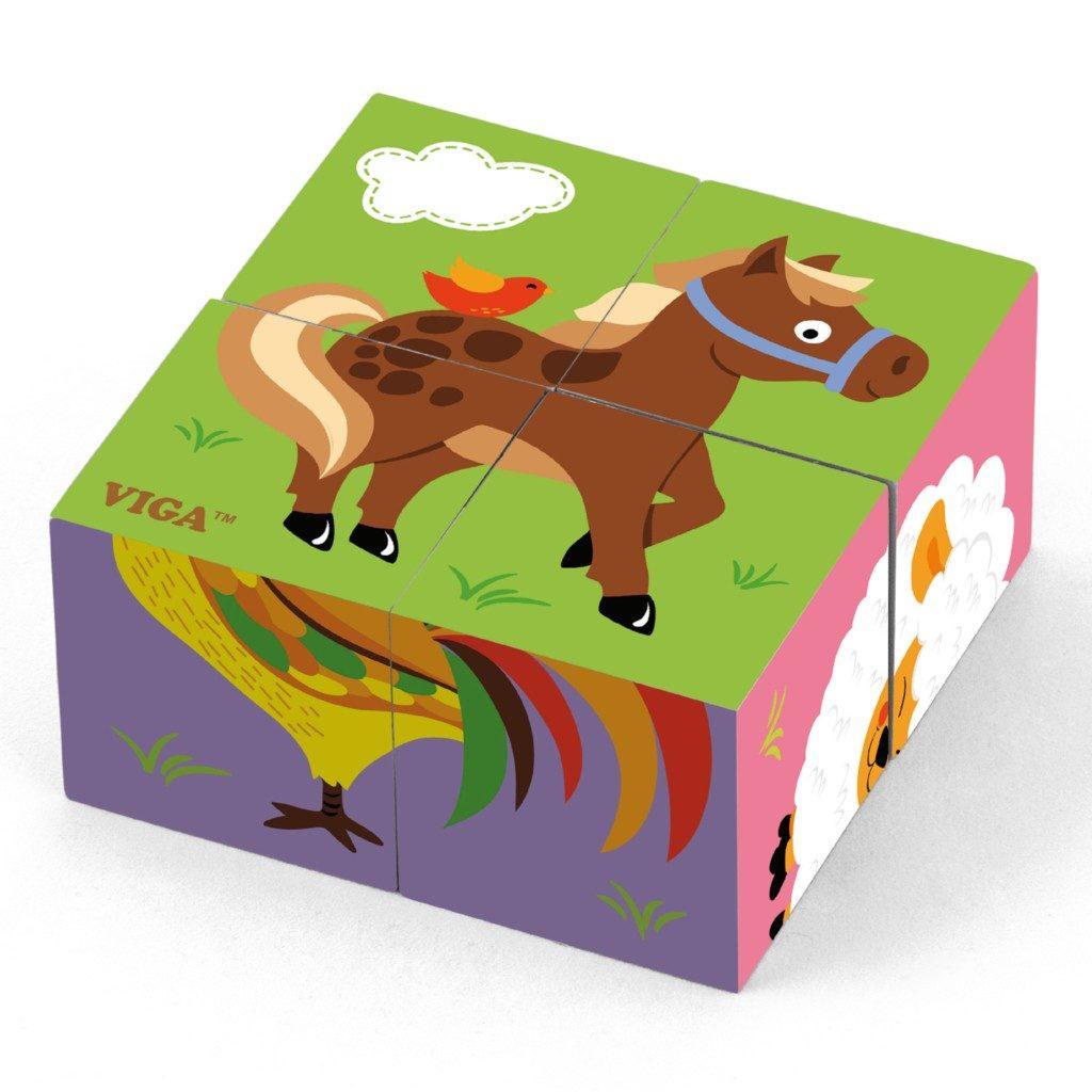 Детски пъзел Фермата от дървени кубчета -Viga toys-Bellamie