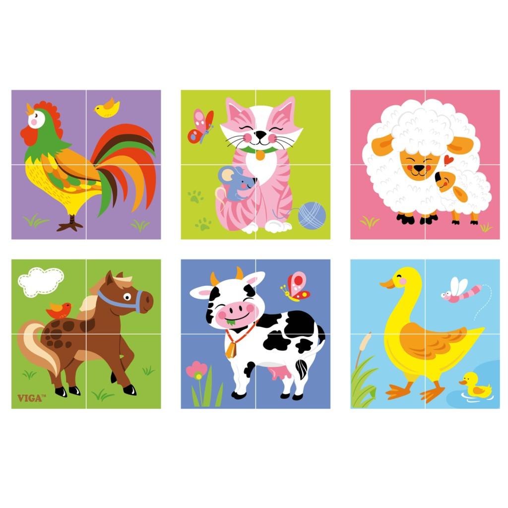 """Детски пъзел """" Фермата"""" от дървени кубчета -Viga toys-Bellamie"""