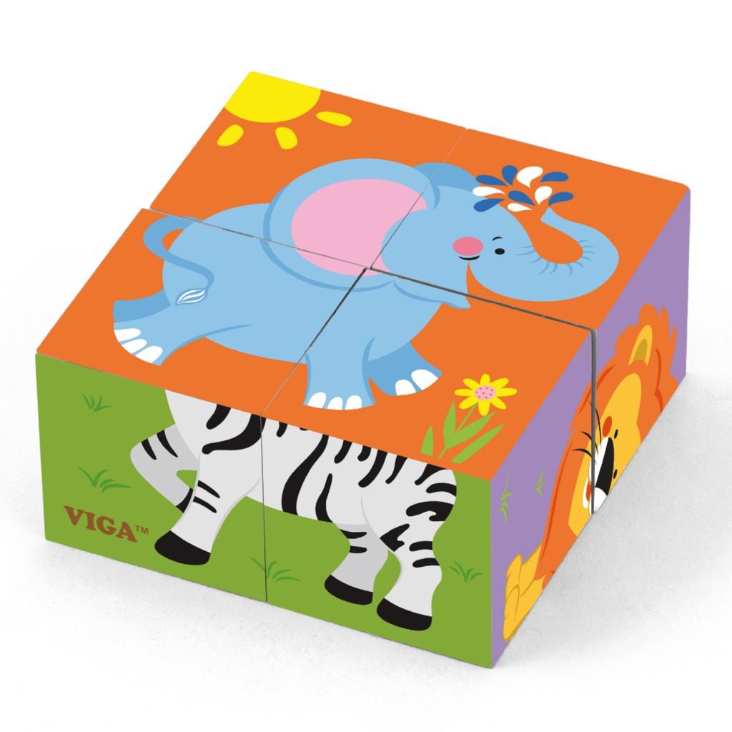 """Детски пъзел """"Сафари"""" от дървени кубчета-Viga toys-Bellamie"""