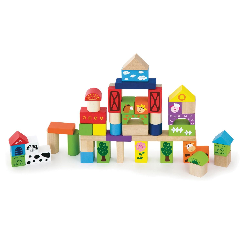 дървен конструктор от 50-части- Фермата- дървени играчки-bellamie