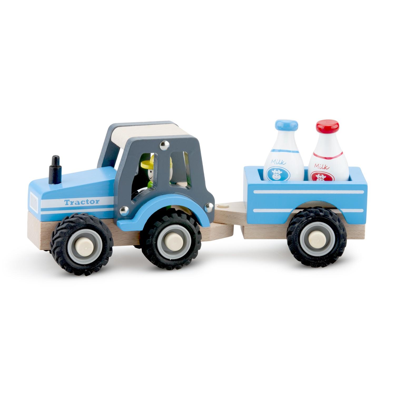 дървена играчка-трактор-с-ремарке-детски играчки за момчета-bellamie