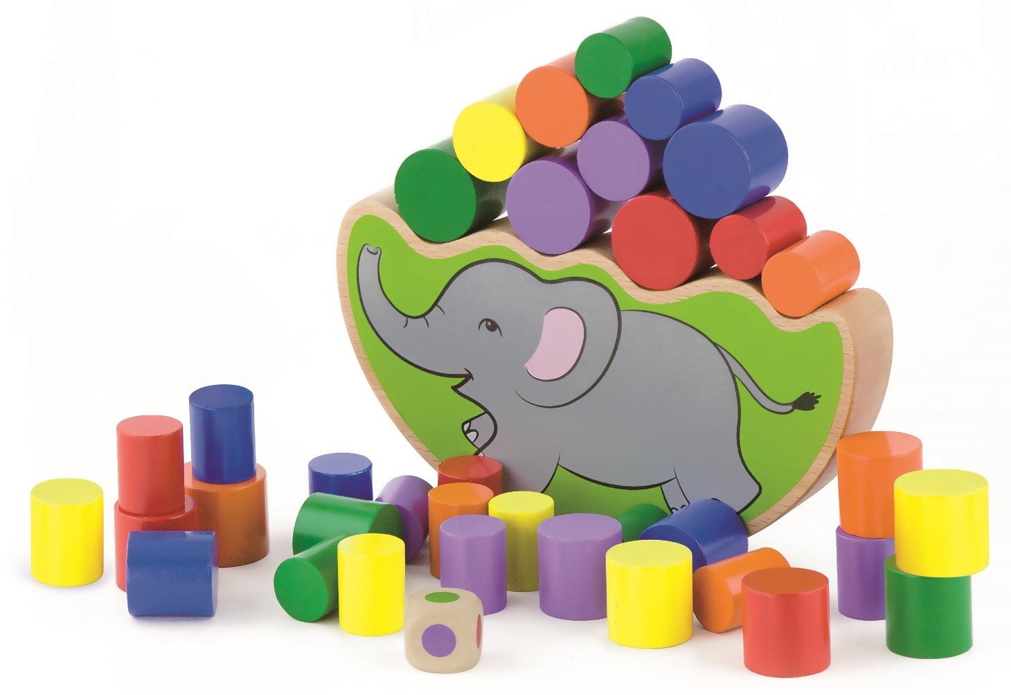 дървена играчка за баланс - слонче-образователни играчки-bellamie
