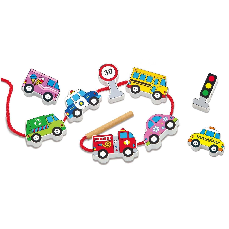 Дървена играчка за нанизване - Превозни средства - образователни играчки-bellamie